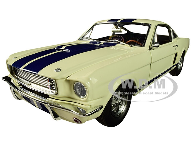 1966 Ford Mustang Shelby GT350 Supercharged Off White Blue Stripes Limited Edition 528 pieces Worldwide 1/18 Diecast Model Car ACME A1801833