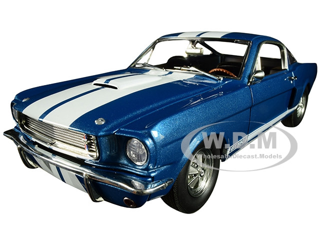 1966 Ford Mustang Shelby GT350 Supercharged Blue White Stripes Limited Edition 852 pieces Worldwide 1/18 Diecast Model Car ACME A1801834