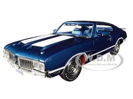 1970 Oldsmobile 442 W-30 Twilight Blue Metallic White Stripes Blue Interior Limited Edition 442 pieces Worldwide 1/18 Diecast Model Car ACME A1805611