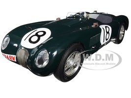Jaguar C-Type #18 Tony Rolt Duncan Hamilton Jaguar Racing Team Winners 24 Hours Le Mans France 1953 Limited Edition 1500 pieces Worldwide 1/18 Diecast Model Car CMC 195