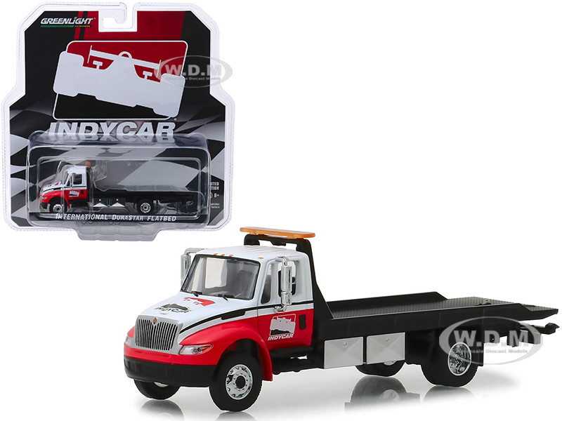International Durastar Flatbed Truck White Red IndyCar Series Hobby Exclusive 1/64 Diecast Model Car Greenlight 30033