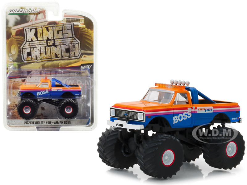 1972 Chevrolet K-10 Monster Truck AM/PM Boss Kings of Crunch Series 3 1/64 Diecast Model Car Greenlight 49030 B