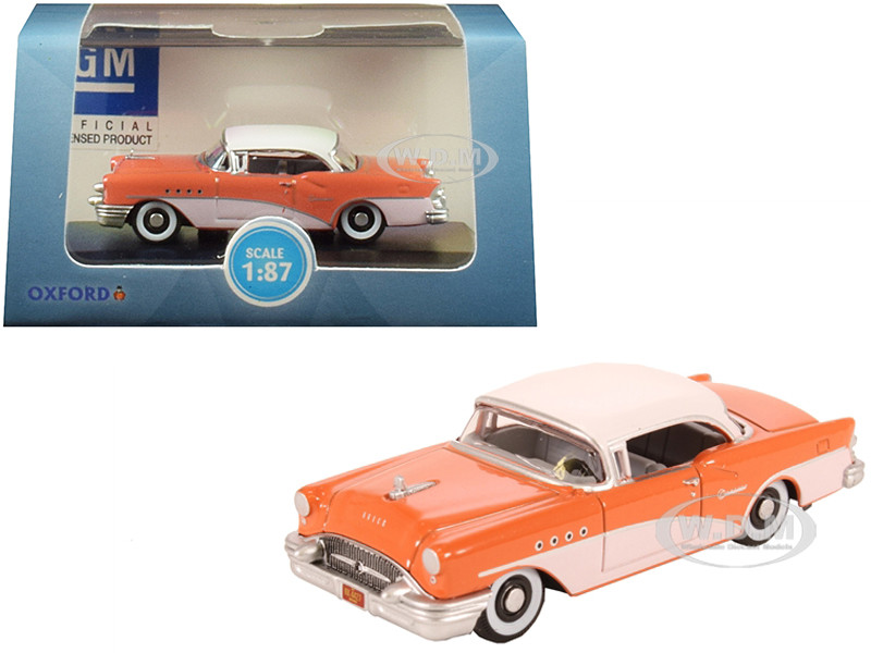 1955 Buick Century Coral Polo White 1/87 HO Scale Diecast Model Car Oxford Diecast 87BC55002