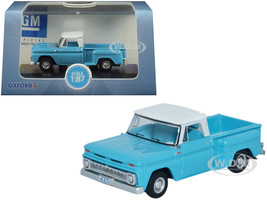 1965 Chevrolet C10 Stepside Pickup Truck Light Blue White Top 1/87 HO Scale Diecast Model Car Oxford Diecast 87CP65001