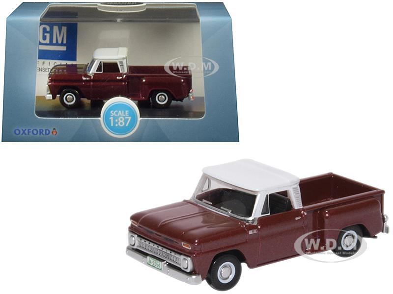 1965 Chevrolet C10 Stepside Pickup Truck Metallic Maroon White Top 1/87 HO Scale Diecast Model Car Oxford Diecast 87CP65003