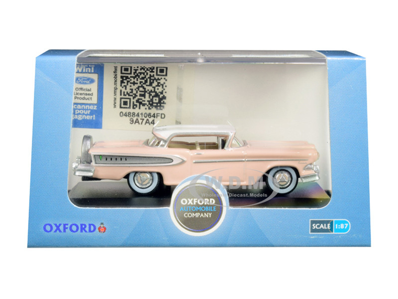 1958 Edsel Citation Chalk Pink Frost White Top 1/87 HO Scale Diecast Model Car Oxford Diecast 87ED58003