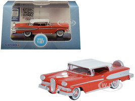 1958 Edsel Citation Ember Red Frost White Top 1/87 HO Scale Diecast Model Car Oxford Diecast 87ED58006