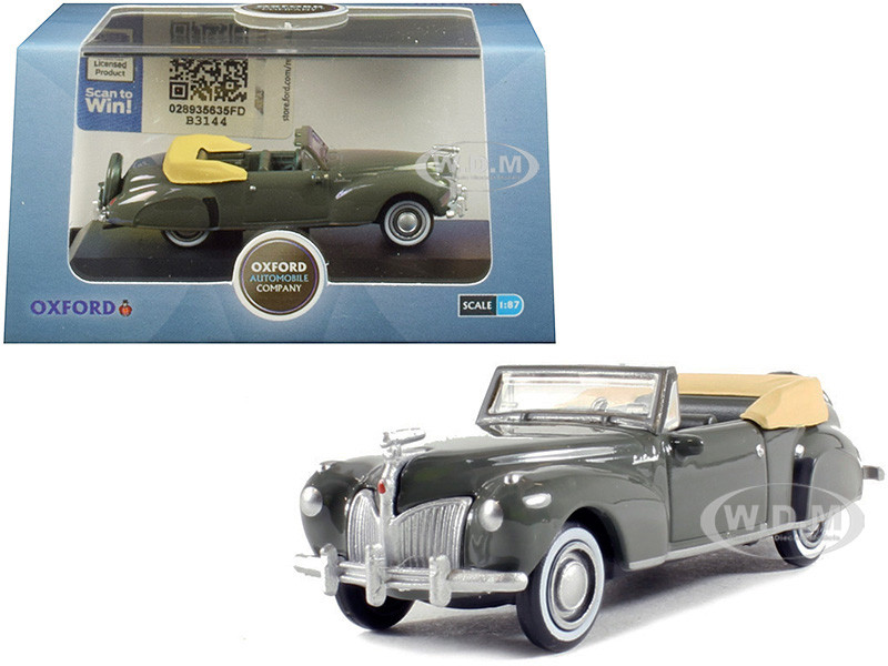 1941 Lincoln Continental Convertible Pewter Gray 1/87 HO Scale Diecast Model Car Oxford Diecast 87LC41003