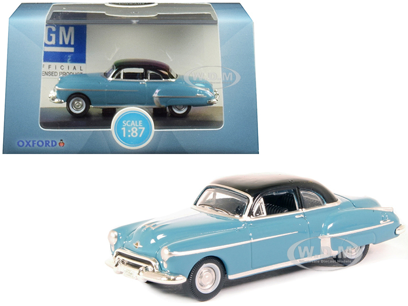1950 Oldsmobile Rocket 88 Coupe Crest Blue Black Top 1/87 HO Scale Diecast Model Car Oxford Diecast 87OR50002