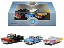 Chevrolet Hot Rods Set 3 pieces 1/87 HO Scale Diecast Model Cars Oxford Diecast 87SET001