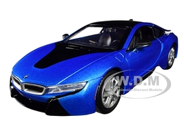 2018 BMW i8 Coupe Metallic Blue Black Top 1/24 Diecast Model Car Motormax 79359