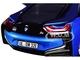 2018 BMW i8 Coupe Metallic Blue Black Top 1/24 Diecast Model Car Motormax 79359