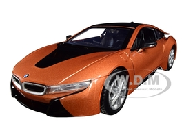 2018 BMW i8 Coupe Metallic Orange Black Top 1/24 Diecast Model Car Motormax 79359