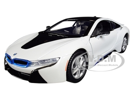 2018 BMW i8 Coupe Metallic White Black Top 1/24 Diecast Model Car Motormax 79359