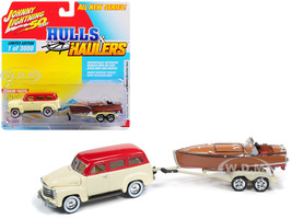 1950 Chevrolet Suburban Ivory Cream Red Top Vintage Wooden Speedster Boat Limited Edition 3000 pieces Worldwide Hulls Haulers Series 1 1/64 Diecast Model Car Johnny Lightning JLBT011 A