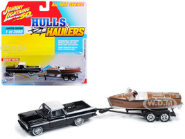 1959 Chevrolet El Camino Black White Top Vintage Wooden Barrelback Boat Limited Edition 3000 pieces Worldwide Hulls Haulers Series 1 1/64 Diecast Model Car Johnny Lightning JLBT011 A
