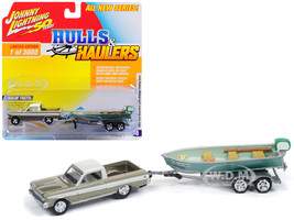 1965 Ford Ranchero Honey Gold Cream Top Weathered Vintage Fishing Boat Limited Edition 3000 pieces Worldwide Hulls Haulers Series 1 1/64 Diecast Model Car Johnny Lightning JLBT011 B