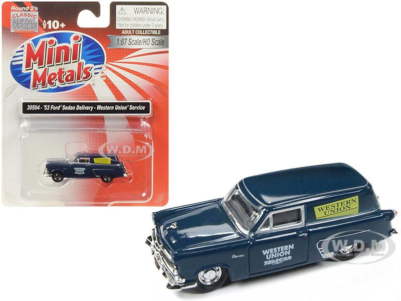 1953 Ford Sedan Delivery Western Union Service Dark Blue 1/87 HO Scale Model Car Classic Metal Works 30504