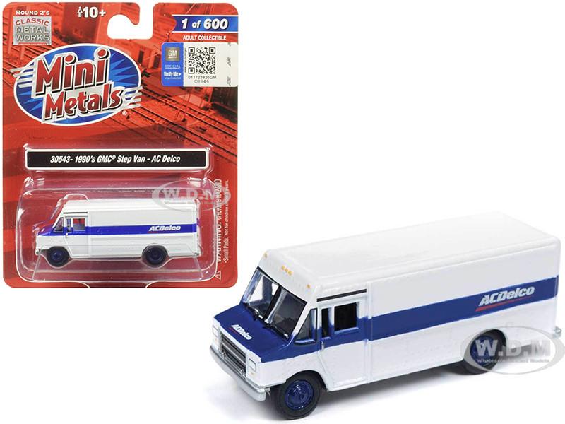 1990 GMC Step Van ACDelco White Blue Stripe 1/87 HO Scale Model Classic Metal Works 30543