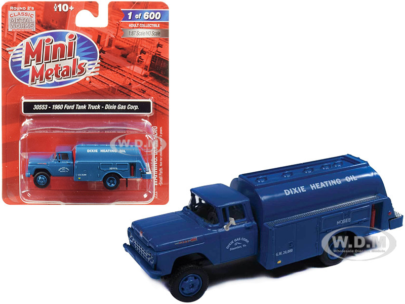 1960 Ford Tank Truck Dixie Gas Corp Blue 1/87 HO Scale Model Classic Metal Works 30553