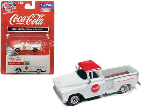 1955 Chevrolet Pickup Truck Coca Cola White Red Top 1/87 HO Scale Model Car Classic Metal Works 30559