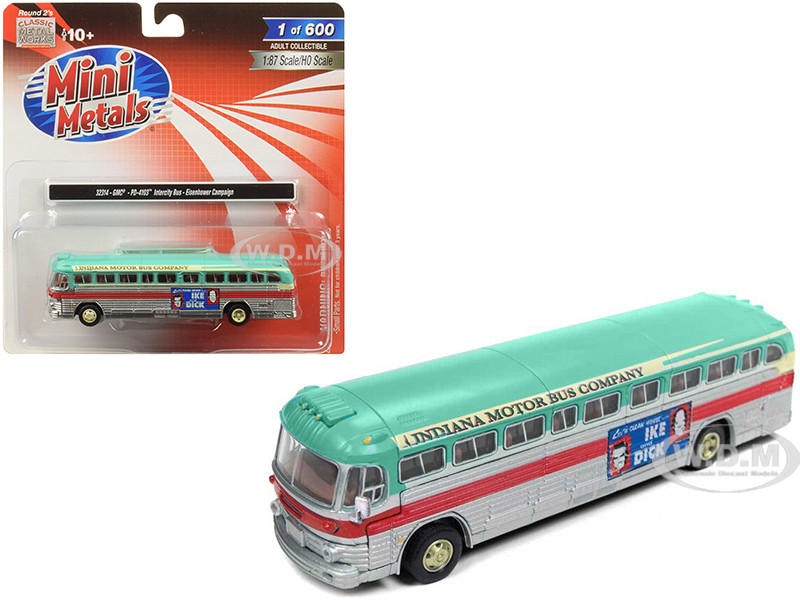 GMC PD-4103 Intercity Bus Indiana Motor Bus Company Eisenhower Campaign 1/87 HO Scale Model Classic Metal Works 32314