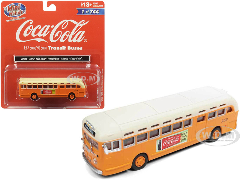 GMC TDH-3610 Transit Bus Atlanta Coca Cola Orange Cream Top 1/87 HO Scale Model Classic Metal Works 32316