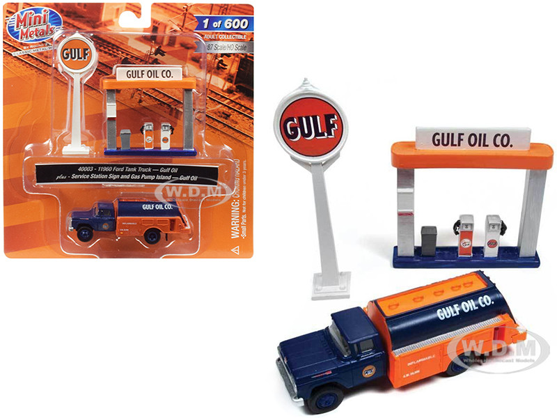 1960 Ford Tank Truck Service Gas Station Gulf Oil 1/87 HO Scale Model Classic Metal Works 40003