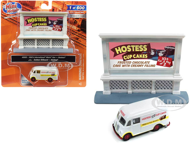 1950 International Metro Van White Outdoor Billboard Hostess 1/87 HO Scale Model Classic Metal Works 40005