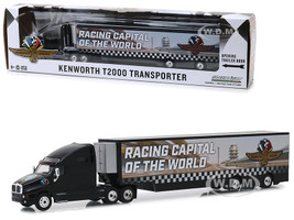 Kenworth T2000 Transporter Indianapolis Motor Speedway Wheel Wings Flag Hobby Exclusive 1/64 Diecast Model Greenlight 30037