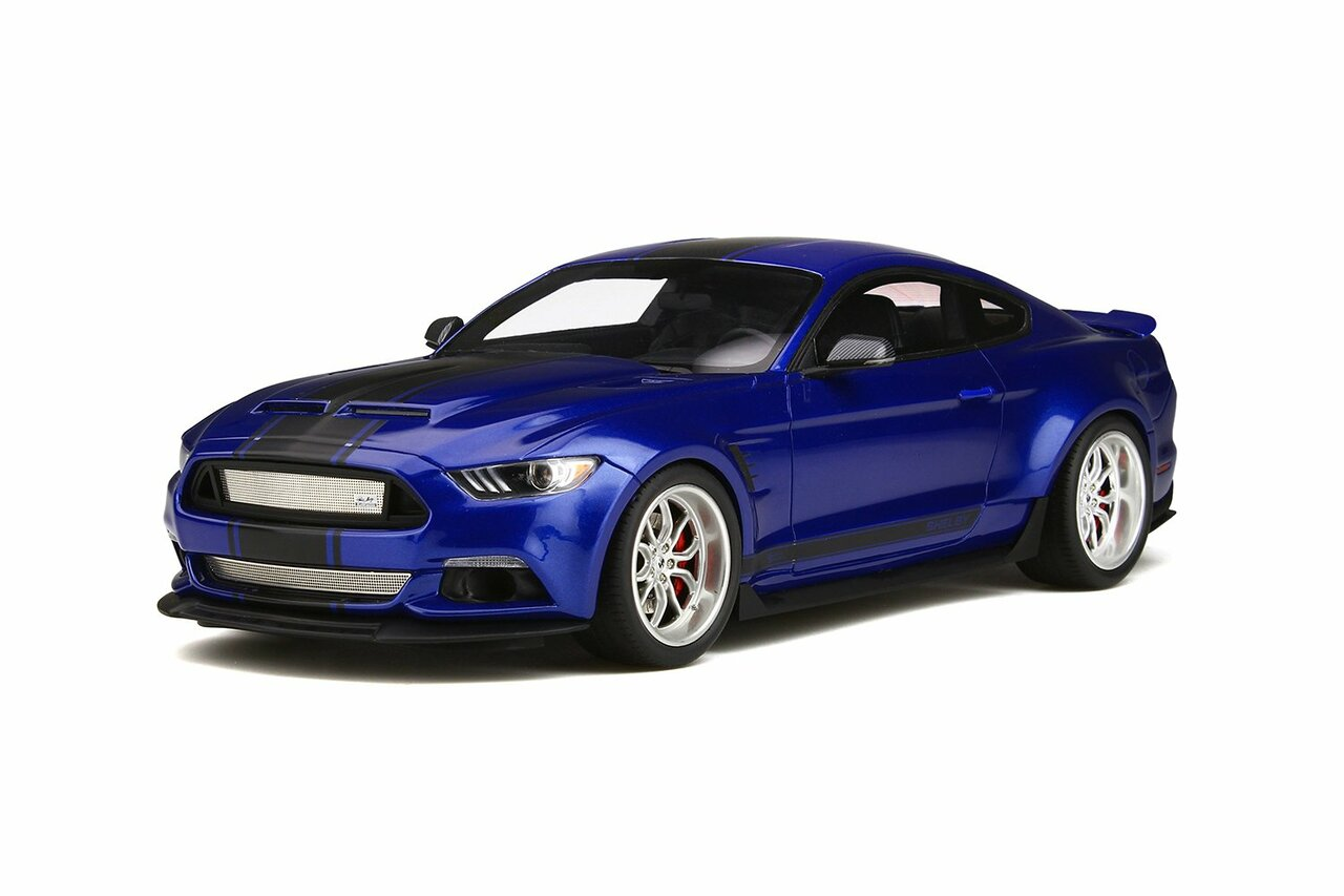 Ford mustang shelby gt350 widebody deep impact blue with black stripes limited edition to 999 pieces worldwide 1 18 model car by gt spirit