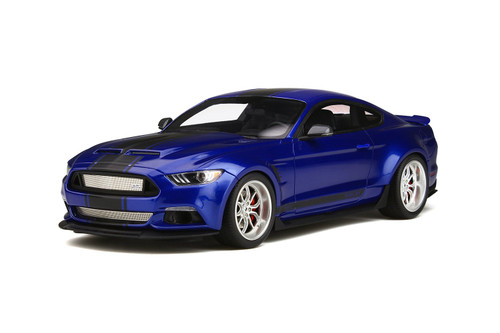 Ford Mustang Shelby GT350 Widebody Deep Impact Blue Black Stripes Limited Edition 999 pieces Worldwide 1/18 Model Car GT Spirit GT238