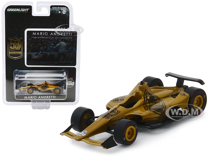 Indy Car Mario Andretti 50th Anniversary 1969 Indianapolis 500 Champion Dallara Universal Aero Kit Tribute IndyCar 1/64 Diecast Model Car Greenlight 10853