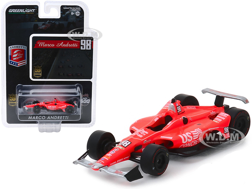 Honda Dallara Indy Car #98 Marco Andretti 50th Anniversary Indianapolis 500 Champion Andretti Autosport US Concrete Tribute 1/64 Diecast Model Car Greenlight 10854