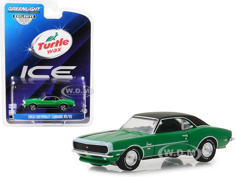 1968 Chevrolet Camaro RS/SS Green Black Top Turtle Wax Ice Lasting Diamond Brilliance Turtle Wax Ad Cars Hobby Exclusive 1/64 Diecast Model Car Greenlight 30018