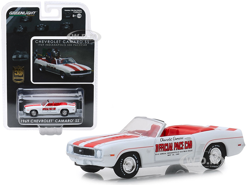 1969 Chevrolet Camaro SS Convertible Pace Car White Red Stripes Mario Andretti 50th Anniversary Indianapolis 500 Champion 1/64 Diecast Model Car Greenlight 30082