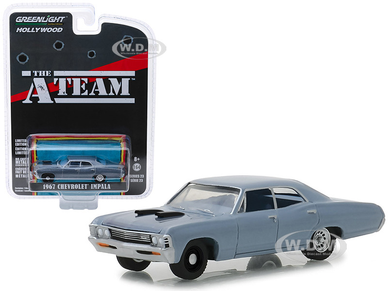 1967 Chevrolet Impala Silver Blue The A-Team 1983 1987 TV Series Hollywood Series Release 23 1/64 Diecast Model Car Greenlight 44830 D