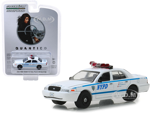 2003 Ford Crown Victoria Police Interceptor New York City Police Department NYPD Quantico 2015 2018 TV Series Hollywood Series Release 23 1/64 Diecast Model Car Greenlight 44830 F