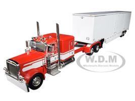 """Peterbilt Model 389 63"""" Flattop Sleeper Cab Kentucky Moving Van Trailer Red White 1/64 Diecast Model DCP First Gear 60-0515"""