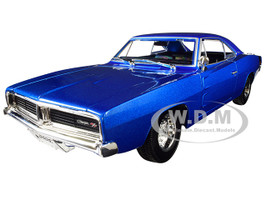 1969 Dodge Charger R/T Metallic Blue 1/18 Diecast Model Car Maisto 31387