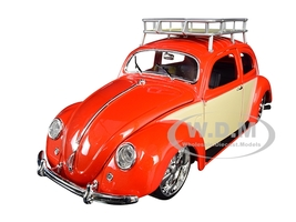 1951 Volkswagen Beetle Roof Rack Orange Red Classic Muscle 1/18 Diecast Model Car Maisto 32614