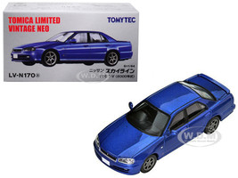 2000 Nissan Skyline 25GT-V RHD Right Hand Drive Metallic Blue 1/64 Diecast Model Car Tomytec 288633