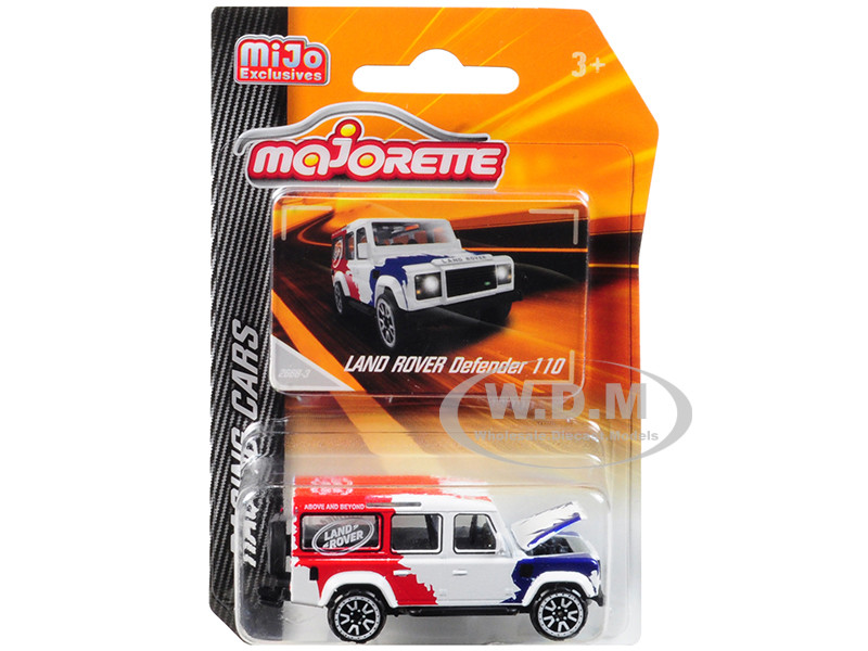 Land Rover Defender 110 White Red Blue Above and Beyond Racing Cars 1/60 Diecast Model Car Majorette 4009MJ1