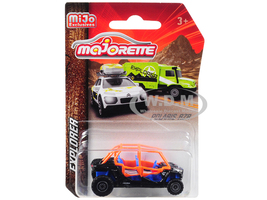 Polaris RZR ATV Black Orange Blue Explorer 1/61 Diecast Model Majorette 7601MJT