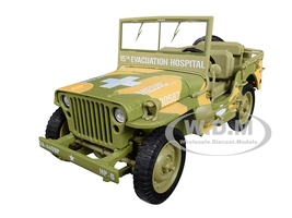 1941 Willys MB Jeep WWII Army Medic 15th Evacuation Hospital Camouflage 1/18 Diecast Model Car Autoworld AWML005 A