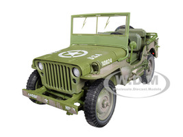 1941 Willys MB Jeep WWII USA Olive Green Drab Mud Covered Dirty 1/18 Diecast Model Car Autoworld AWML005 B