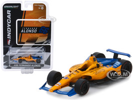 Dallara Indy Car #66 Fernando Alonso Dell Technologies Mindmaze McLaren Racing 1/64 Diecast Model Car Greenlight 10845