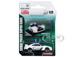 Nissan GT-R White Green Special Edition Dubai Police Super Cars 1/61 Diecast Model Car Majorette 7181MJT