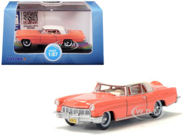1956 Lincoln Continental Mark II Island Coral Starmist White Top 1/87 HO Scale Diecast Model Car Oxford Diecast 87LC56004