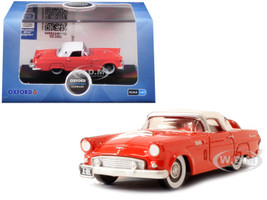 1956 Ford Thunderbird Fiesta Red Colonial White Top 1/87 HO Scale Diecast Model Car Oxford Diecast 87TH56004